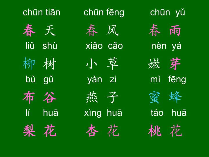 chūn tiān         chūn fēng          chūn  yǔ