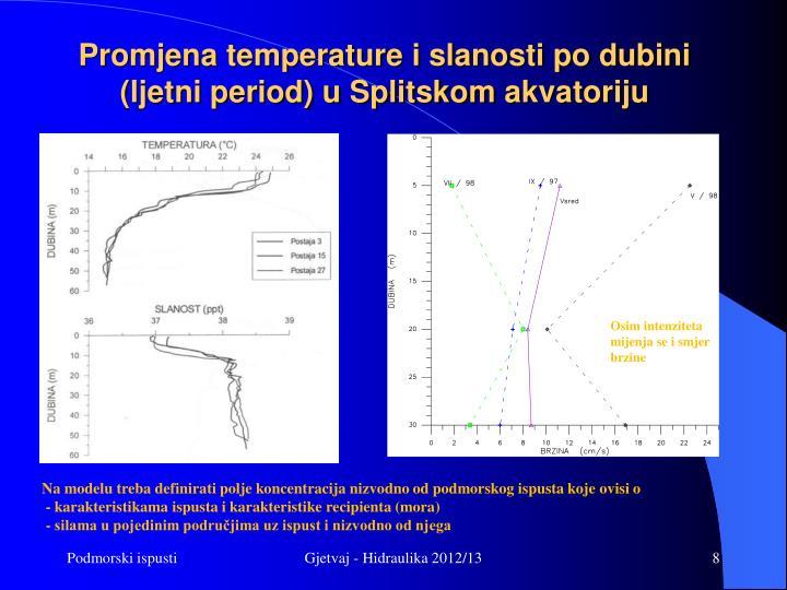 Promjena temperature i slanosti po dubini  (ljetni period) u Splitskom
