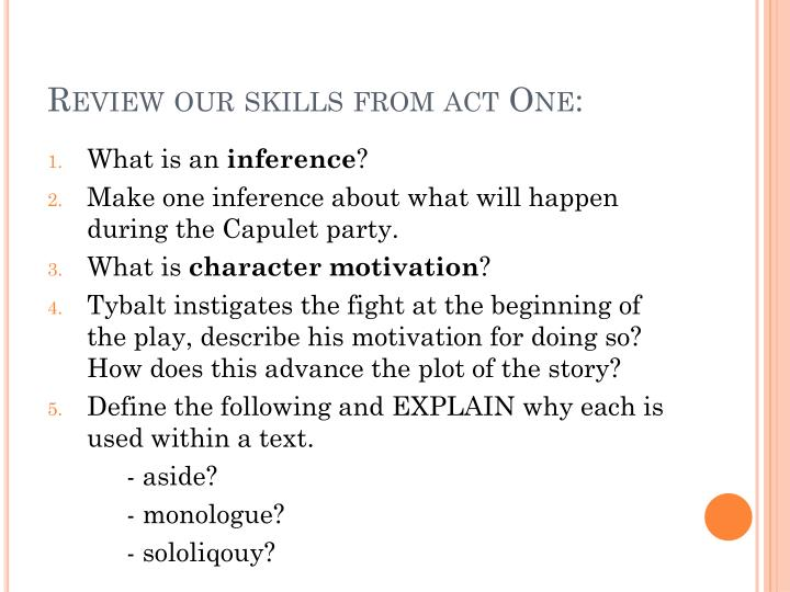 Review our skills from act One: