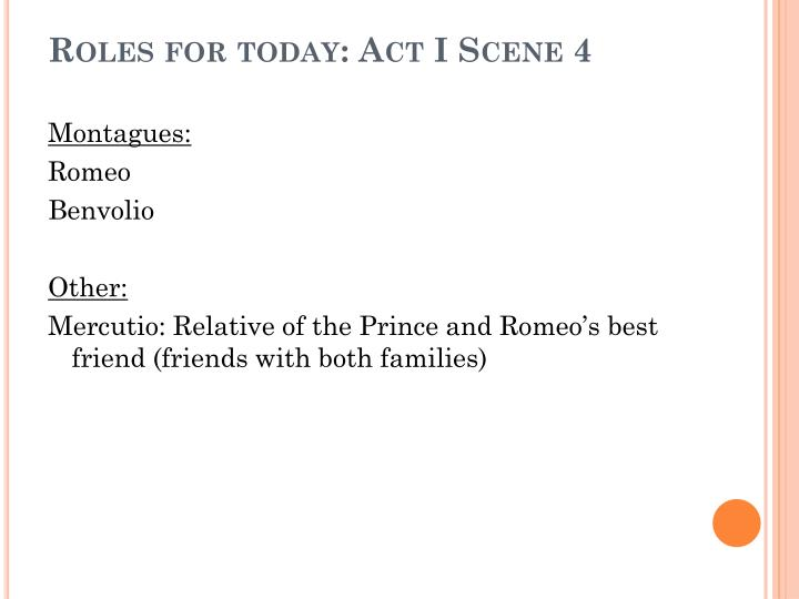 Roles for today: Act I Scene 4