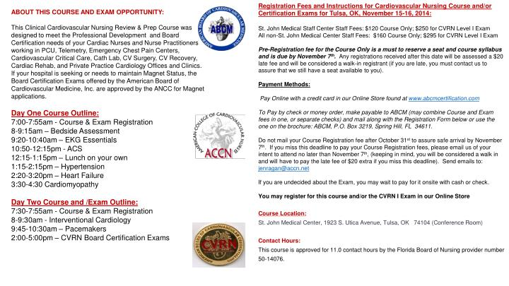 Registration Fees and Instructions for Cardiovascular Nursing Course and/or Certification