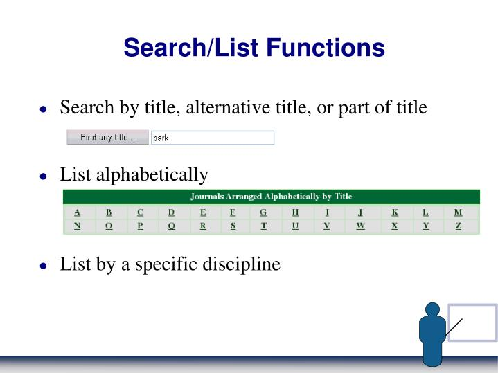 Search/List Functions