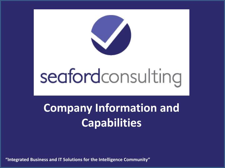 Company Information and Capabilities