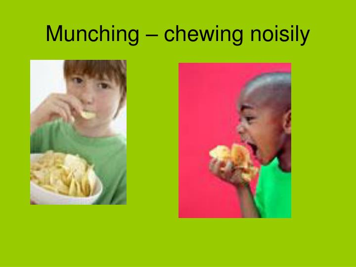 Munching – chewing noisily