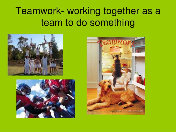Teamwork- working together as a team to do something