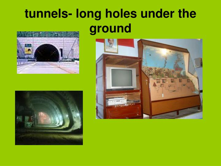 tunnels- long holes under the ground