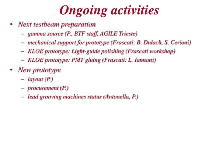 Ongoing activities1