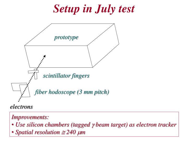 Setup in July test