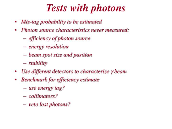 Tests with photons