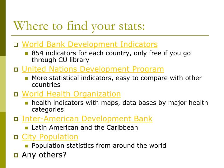 Where to find your stats: