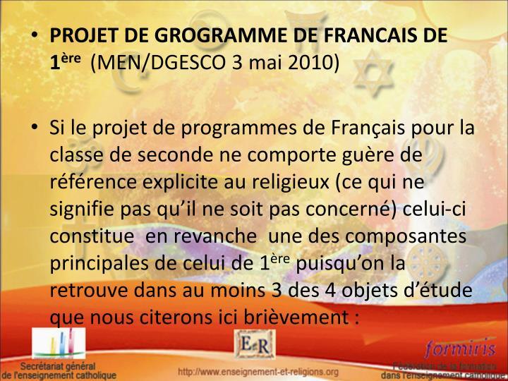 PROJET DE GROGRAMME DE FRANCAIS DE 1