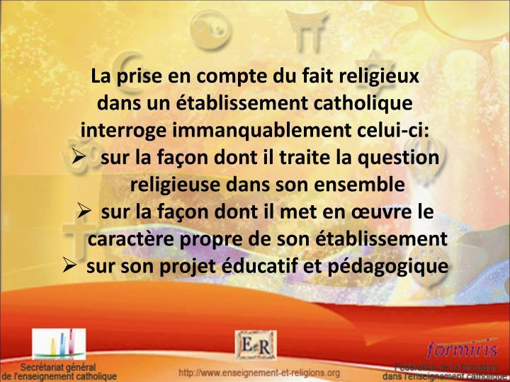 La prise en compte du fait religieux