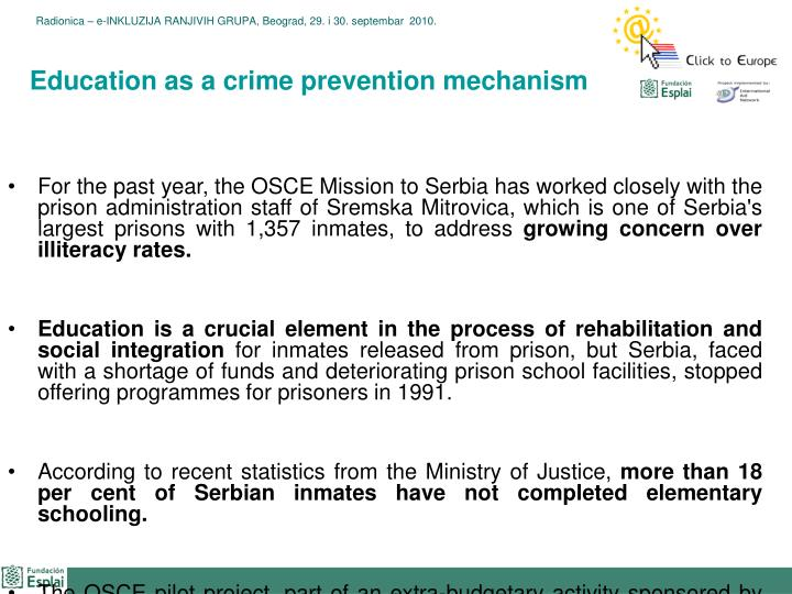 Education as a crime prevention mechanism