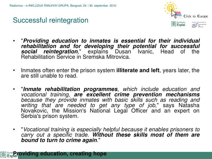 Successful reintegration