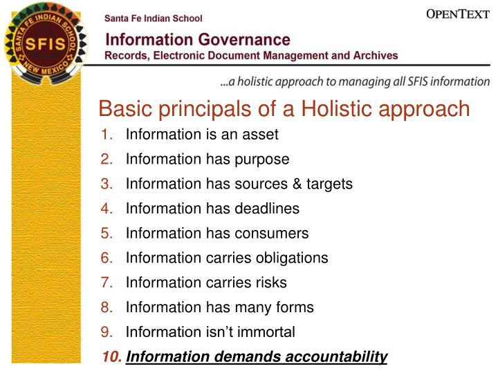 Basic principals of a Holistic approach