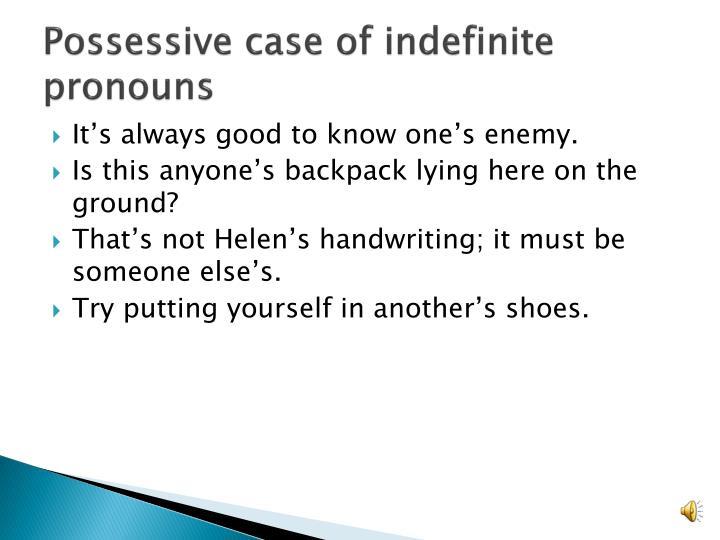Possessive case of indefinite pronouns