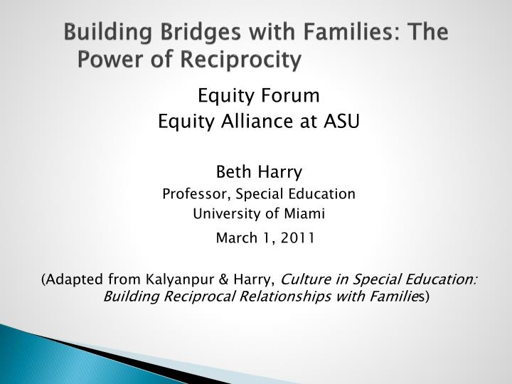 Building bridges with families the power of reciprocity