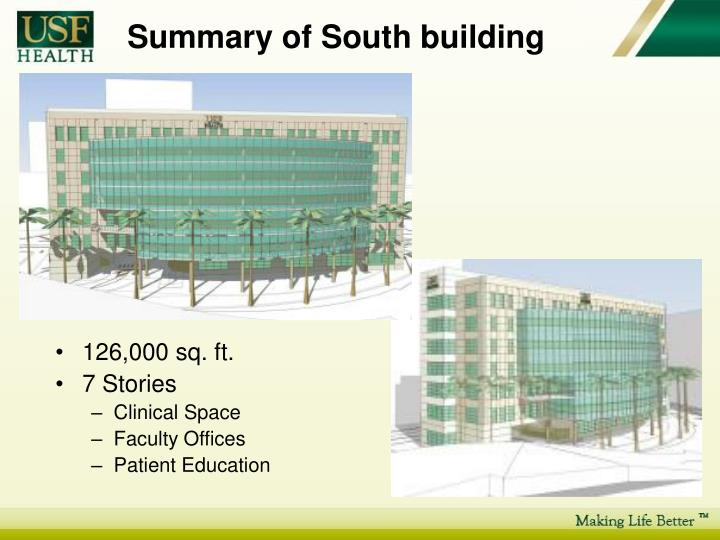 Summary of south building