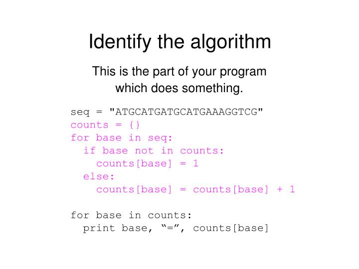 Identify the algorithm