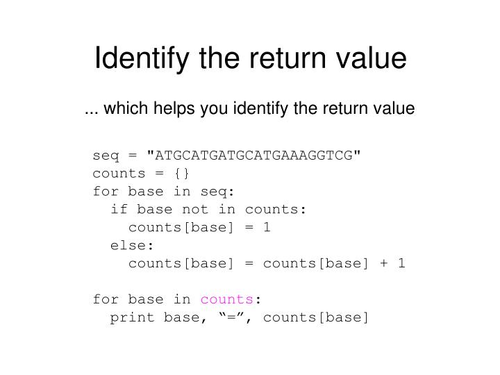 Identify the return value