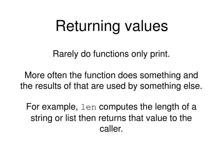 Returning values