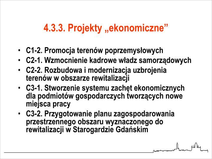 """4.3.3. Projekty """"ekonomiczne"""""""