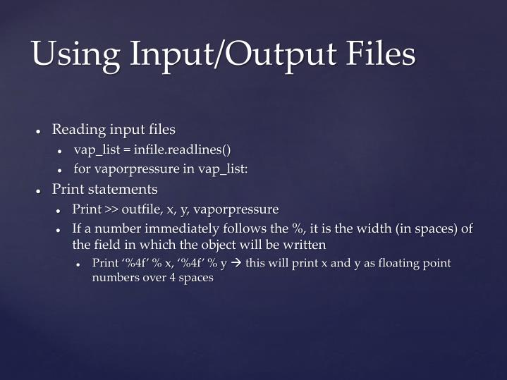 Reading input files