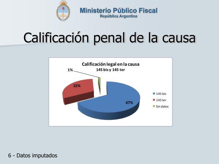 Calificación penal de la causa