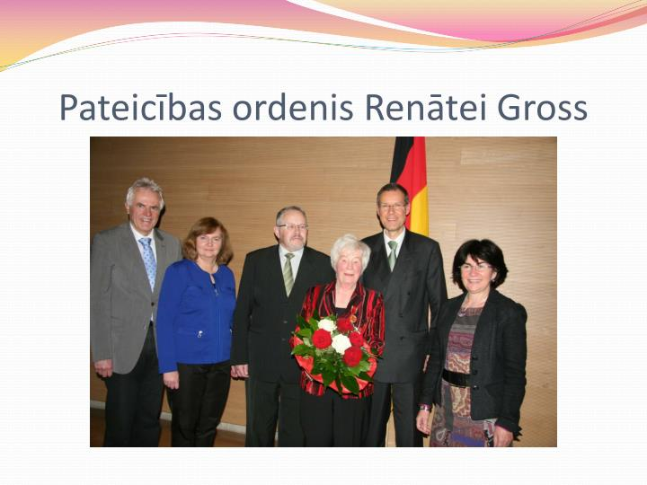 Pateicības ordenis Renātei Gross