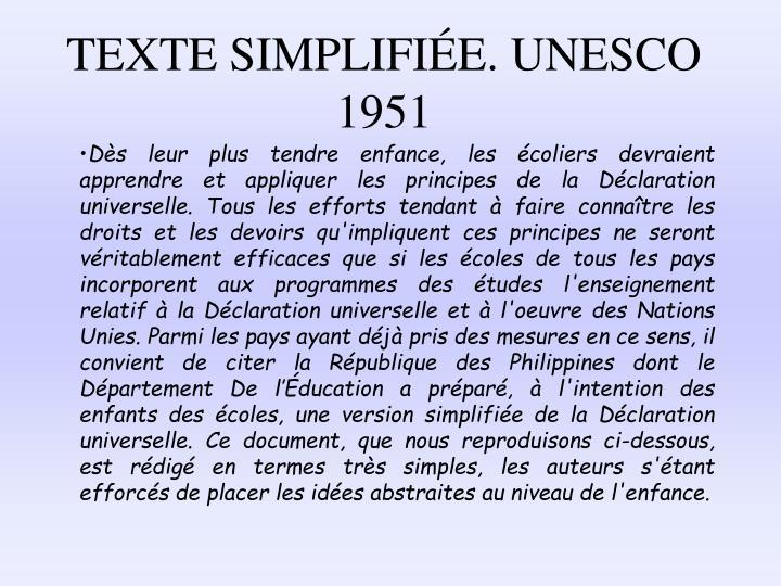 TEXTE SIMPLIFIE. UNESCO 1951