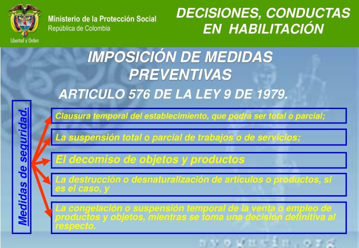 DECISIONES, CONDUCTAS EN  HABILITACIÓN