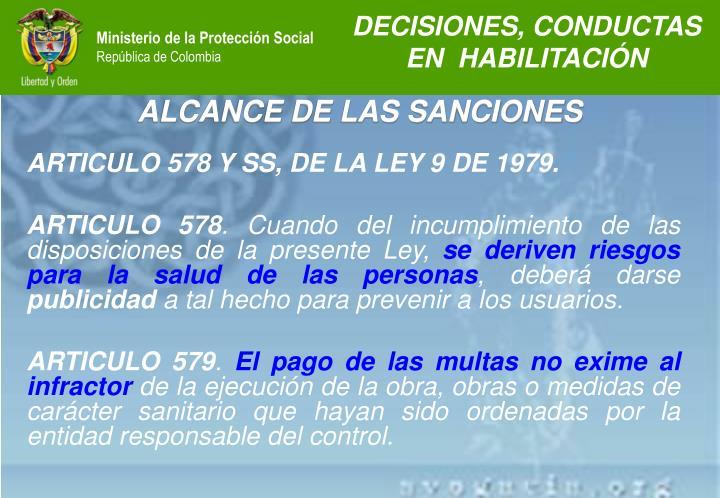 ALCANCE DE LAS SANCIONES