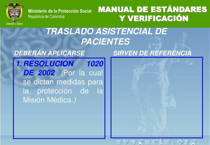 RESOLUCIÓN 1020 DE 2002
