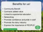 benefits for us