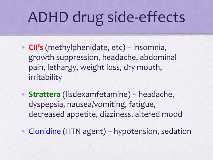 ADHD drug side-effects