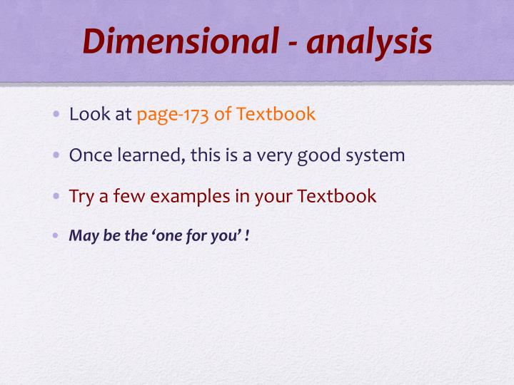 Dimensional - analysis