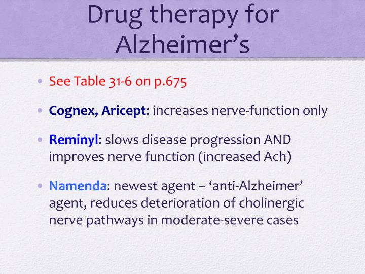 Drug therapy for Alzheimer's