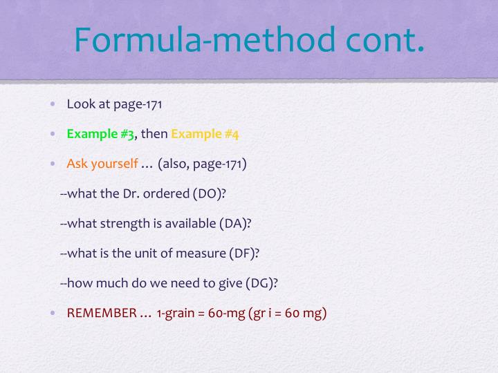 Formula-method cont.