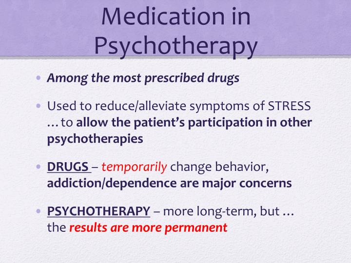 Medication in Psychotherapy