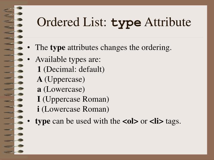 Ordered List: