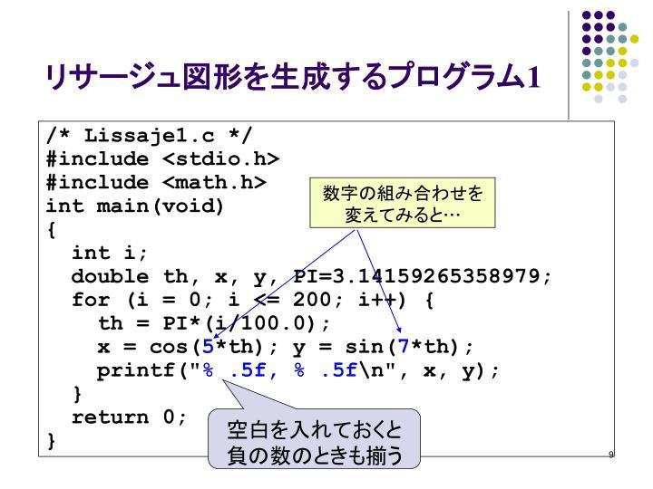 リサージュ図形を生成するプログラム