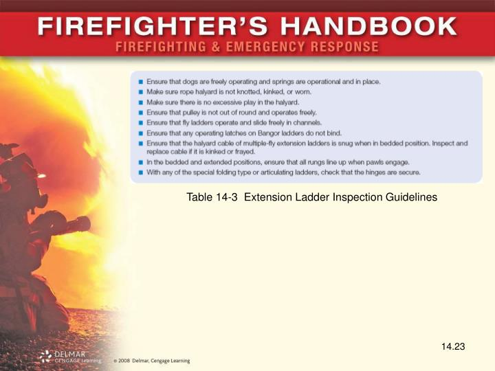 Table 14-3  Extension Ladder Inspection Guidelines