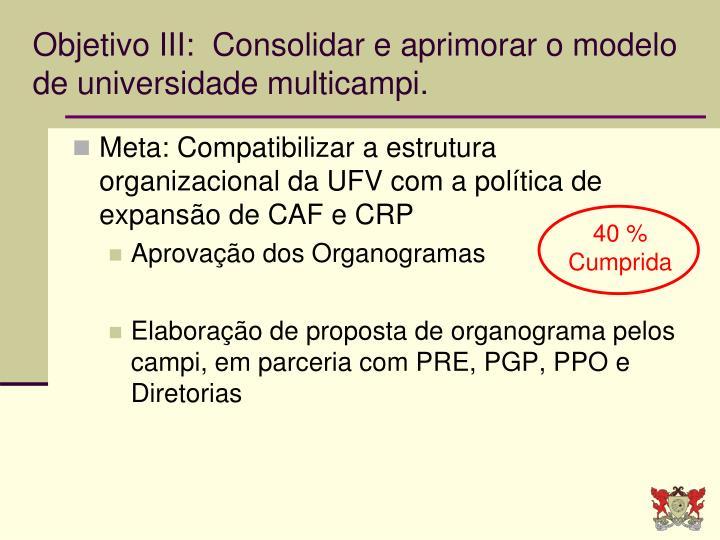 Objetivo III:  Consolidar e aprimorar o modelo de universidade