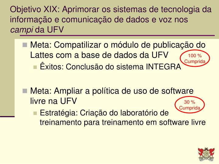 Objetivo XIX: Aprimorar os sistemas de tecnologia da informação e comunicação de dados e voz nos