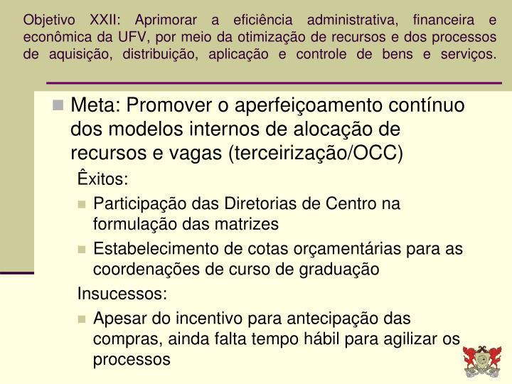Objetivo XXII: Aprimorar a eficiência administrativa, financeira e econômica da UFV, por meio da otimização de recursos e dos processos de aquisição, distribuição, aplicação e controle de bens e serviços.