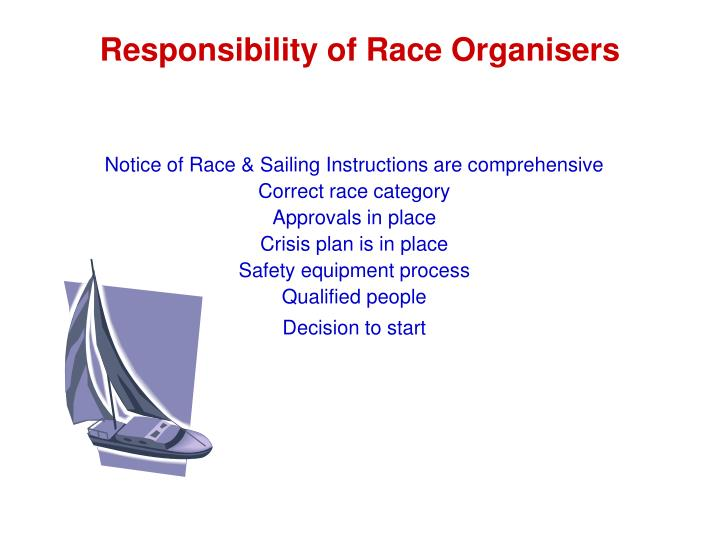 Responsibility of Race Organisers