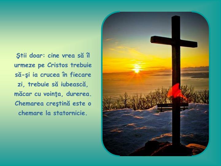 tii doar: cine vrea s l urmeze pe Cristos trebuie s-i ia crucea n fiecare zi, trebuie s iubeasc, mcar cu voina, durerea. Chemarea cretin este o chemare la statornicie.