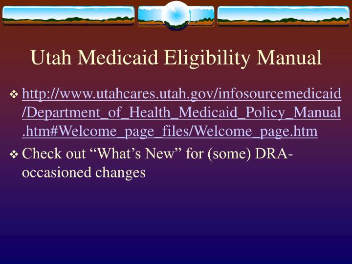 Utah Medicaid Eligibility Manual