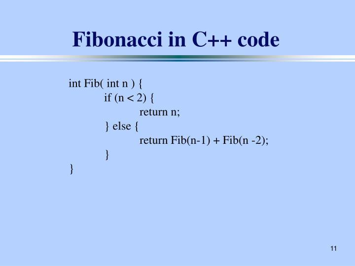 Fibonacci in C++ code