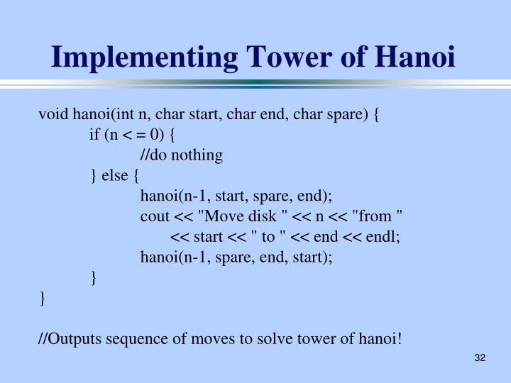 Implementing Tower of Hanoi